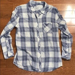Rails blue white plaid button down shirt medium